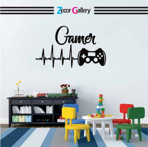 Zecor Gallery  Gamer Heart Beat Wall Art Stickers Gaming Player Kids Room
