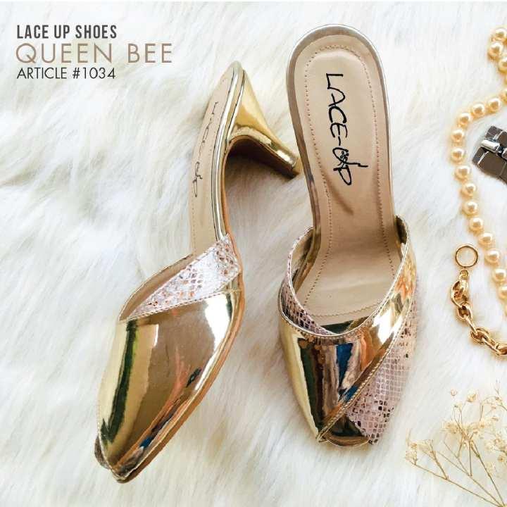 LACE UP Queen Bee Kitten Heels - Shoes for Women