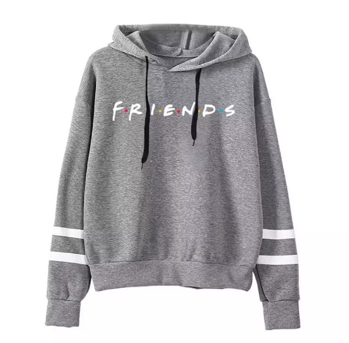 High quality casual imported grey double stripe FRIENDS printed kangroo hoodie pull over for winter