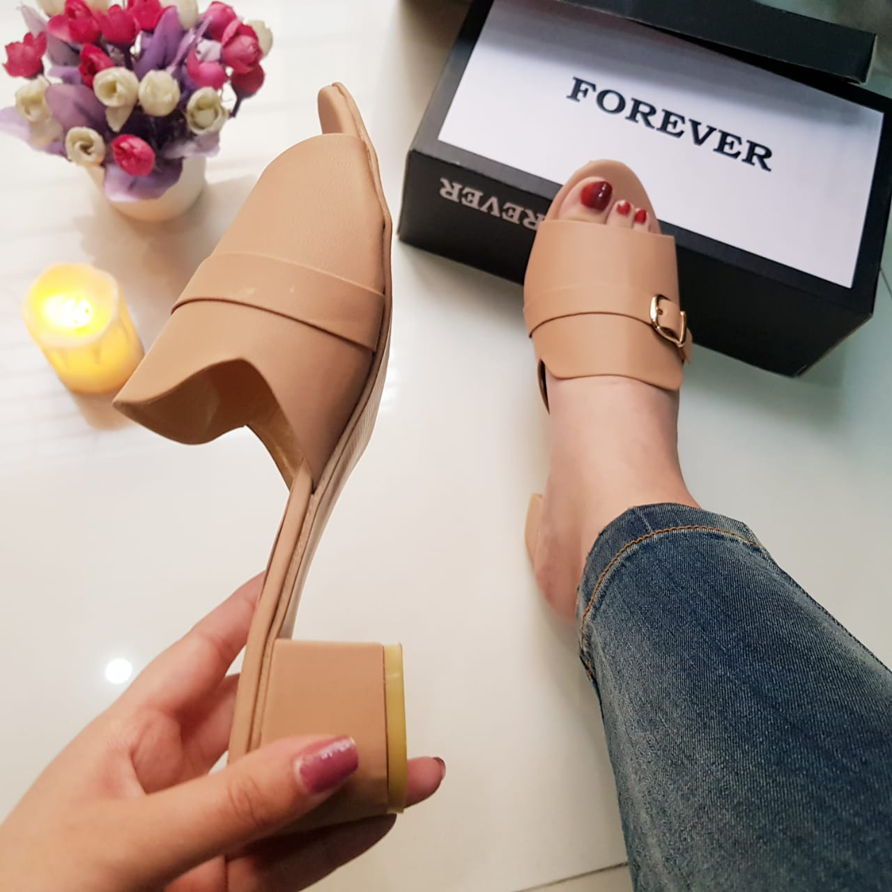 Block Heel Slippers Peep Toe Shoes for Women and Girls SH10