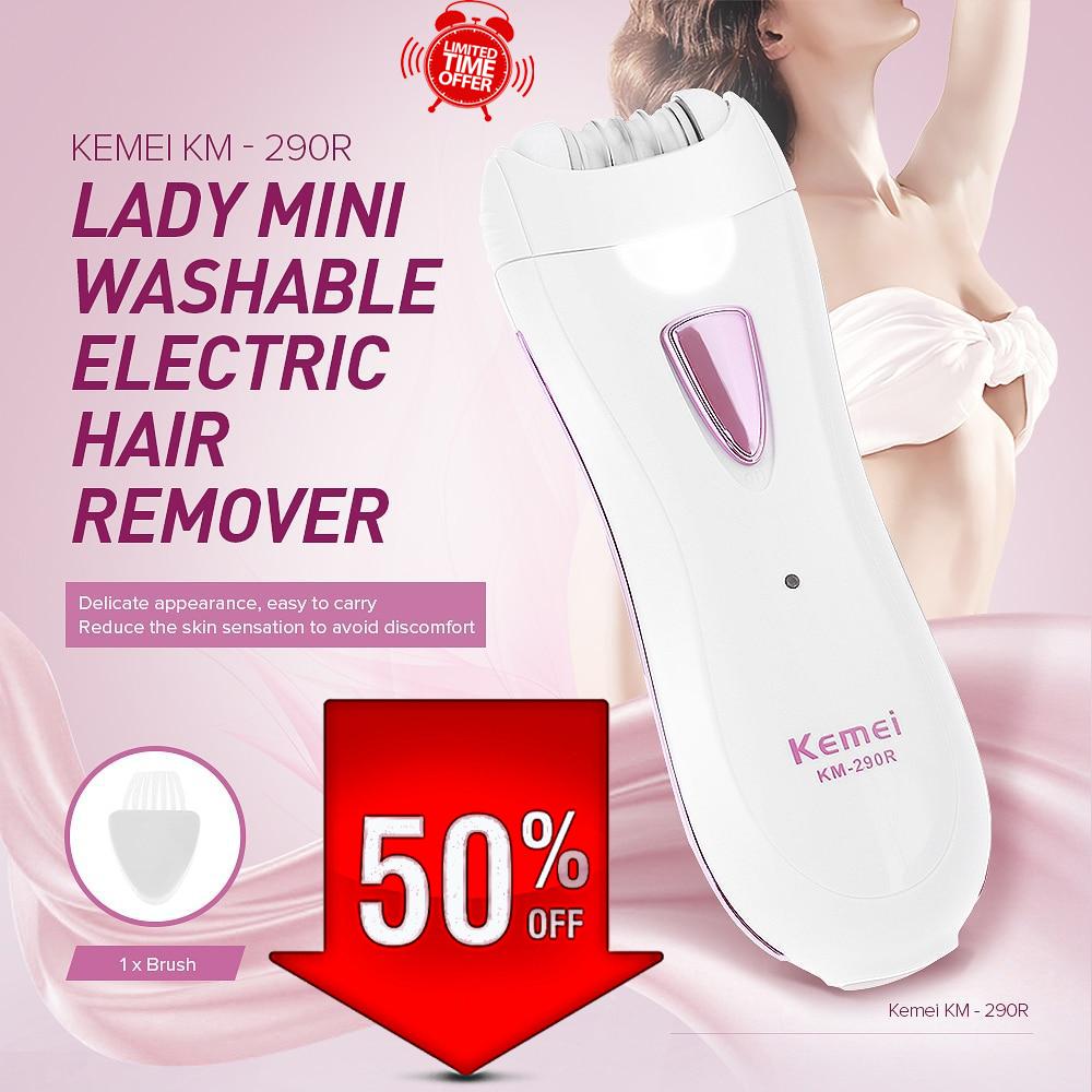 ORIGINAL KEMEI KM-290R Women Epilator Shaver Lady Hair Remover Mini Rechargeable Professional Electric Female Shaving machine Depilatory Use for Full Body Travel Essentials Genuine NEW KM 290R