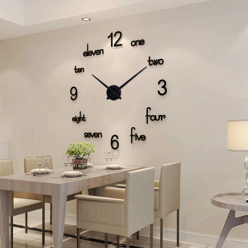 NEW 3D Beautiful Wall Clock Sticker Mirror Unique Big Number Watch DIY Decor For Home Office Living Room Top Seller