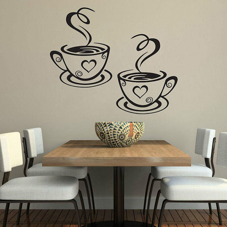 Two cup vinyl wall sticker. Best quality sticker for kitchen wall, dining room, café, living room, Mess and etc.