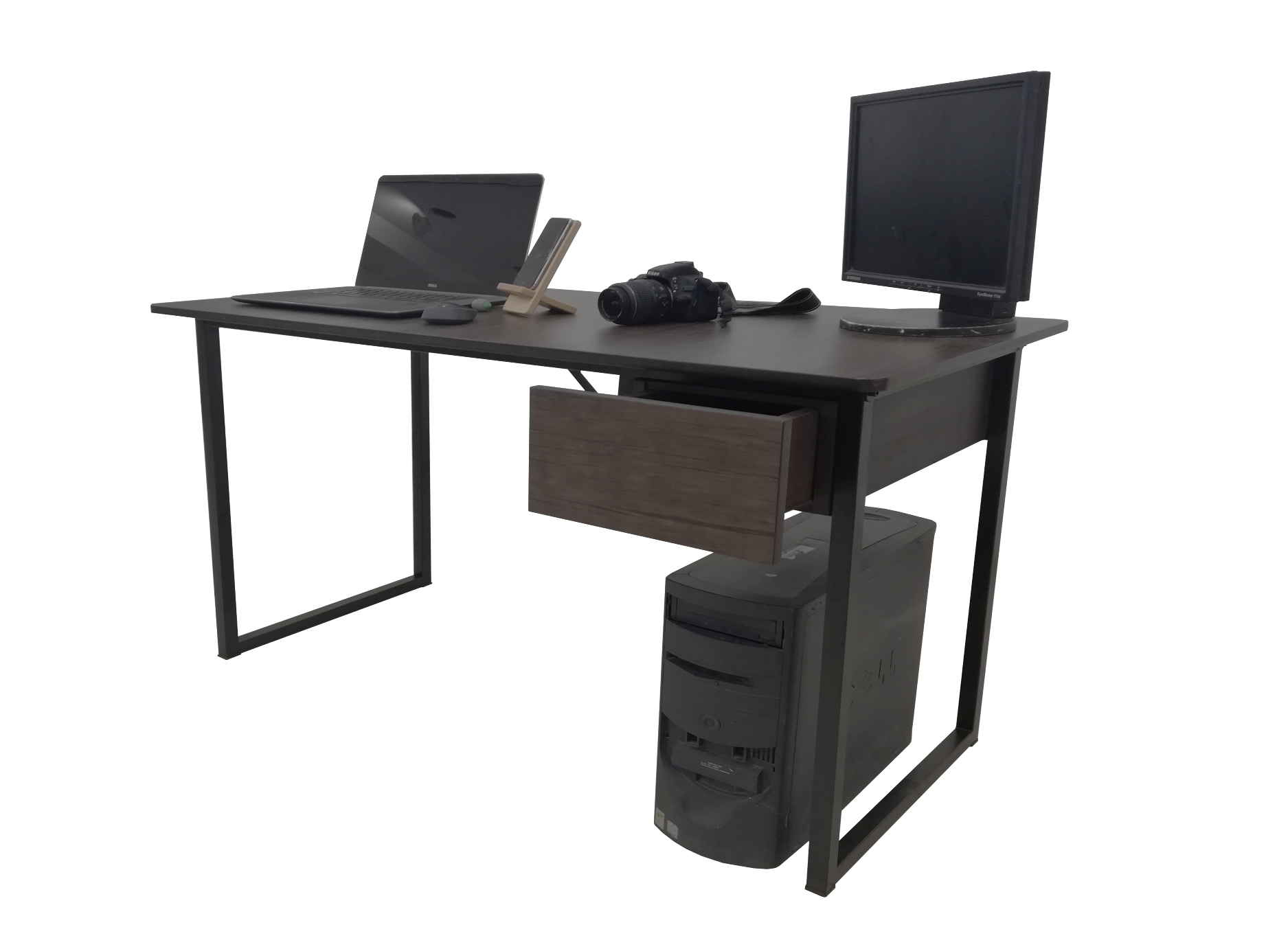 Modular Computer Study Table for Office and Home with Drawer Dark Brown
