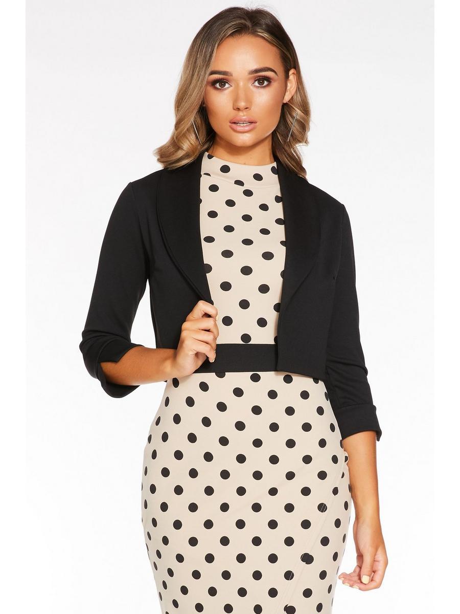 Quiz Black Shawl Collar Crop Jacket for Women - 00100022256-10