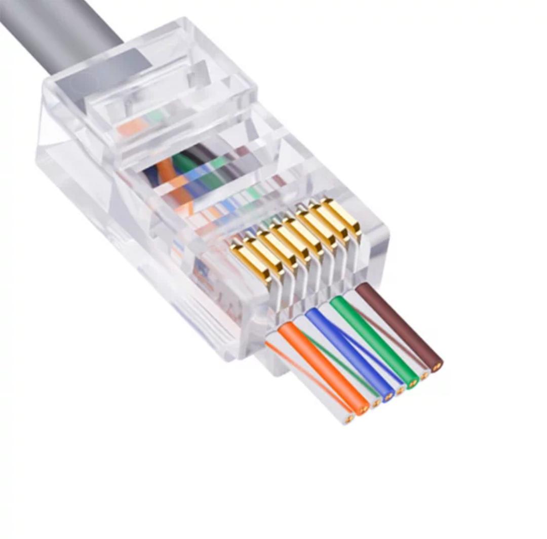 50Pcs Copper RJ45 Connector Wire pass Through