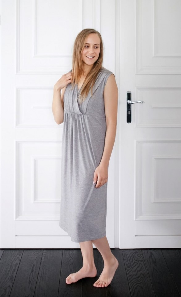 Maternity Gown/Nursing Gown - Sleeveless - Soft & Comfortable - Grey