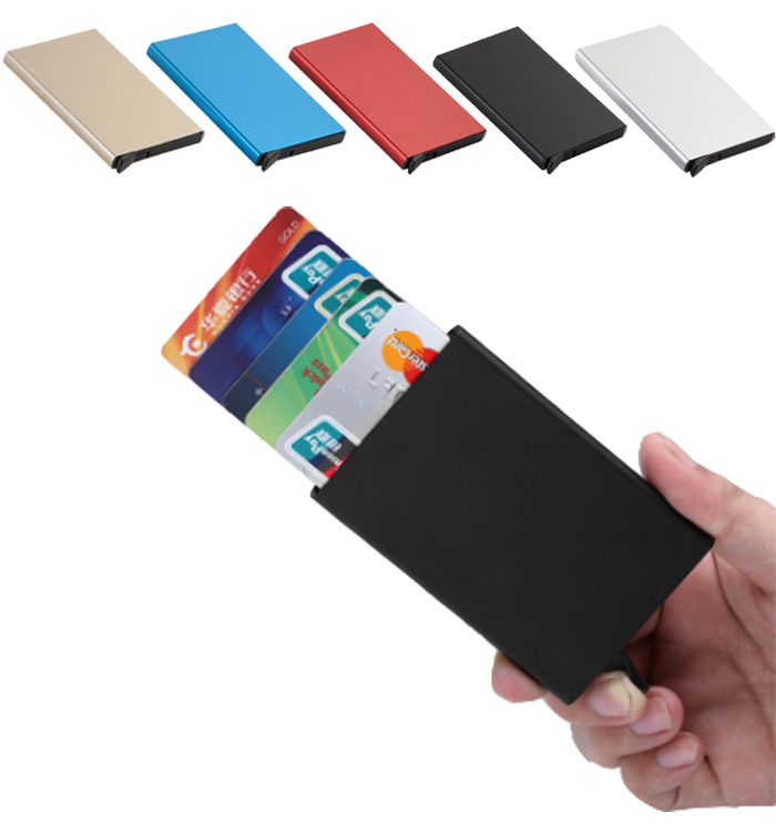 Metal Automatic Pop up Slim Card Holder Wallet  Small Card Wallet for Men and Women-Multi-color