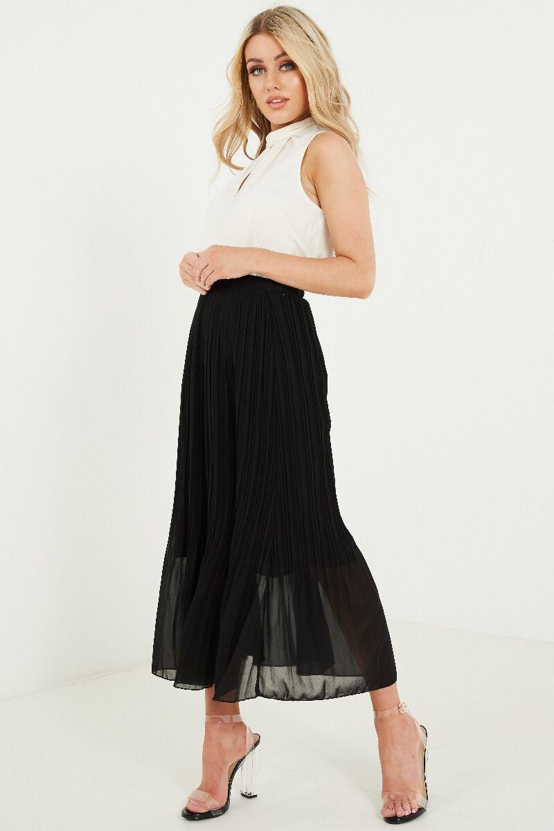 NEW LOOK Black Chiffon Pleated Skirt for Women-649882801-8