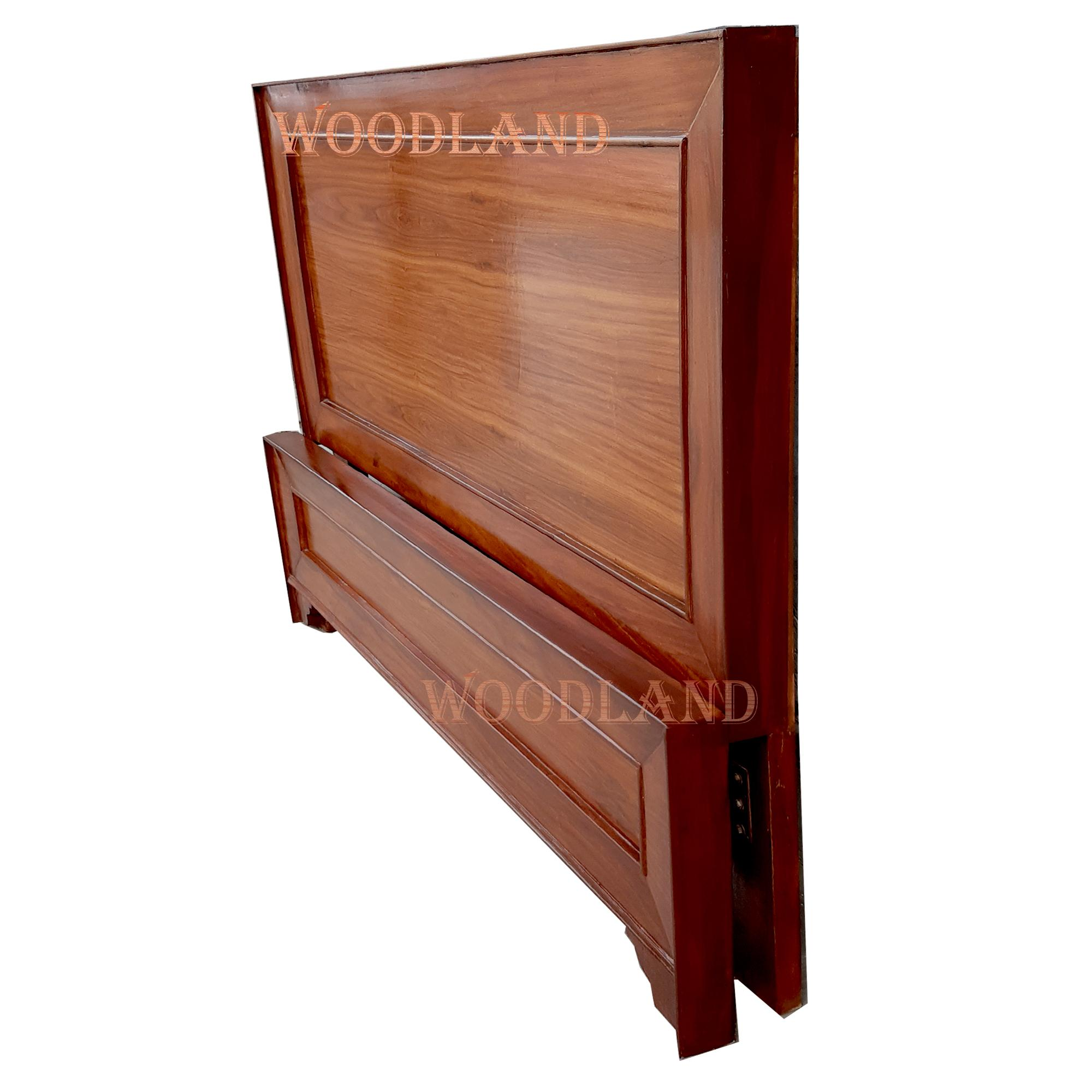 Wooden Double Bed Only Natural Polish without matress